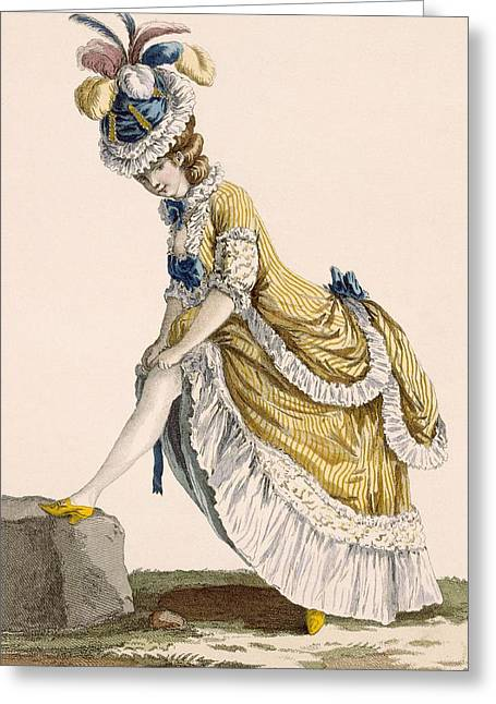 Lady Pulling Up Her Stocking, Engraved Greeting Card