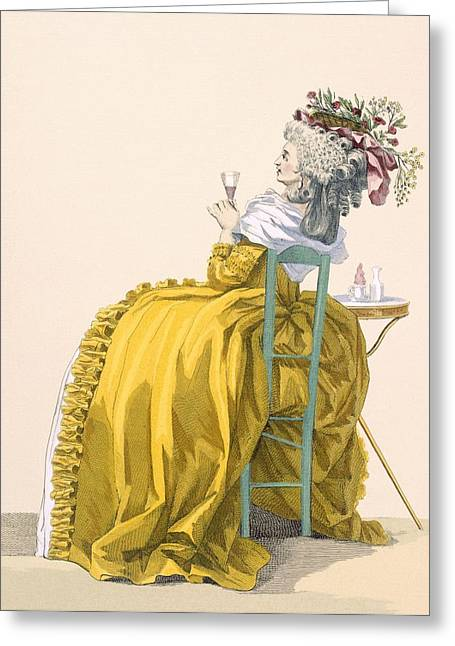 Lady Reclines On Chair Drinking Greeting Card