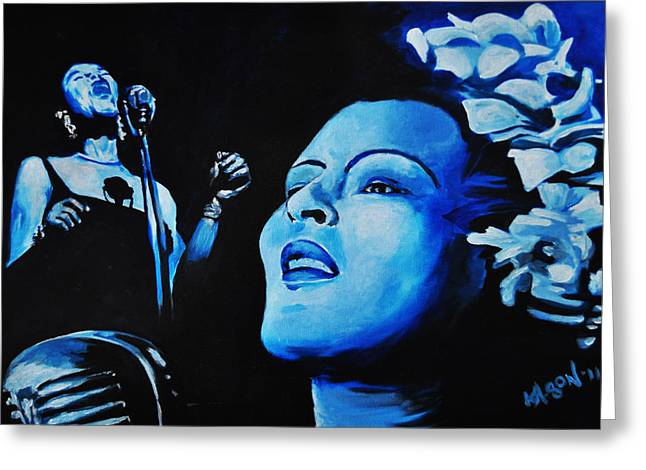 Lady Sings The Blues Greeting Card by Ka-Son Reeves