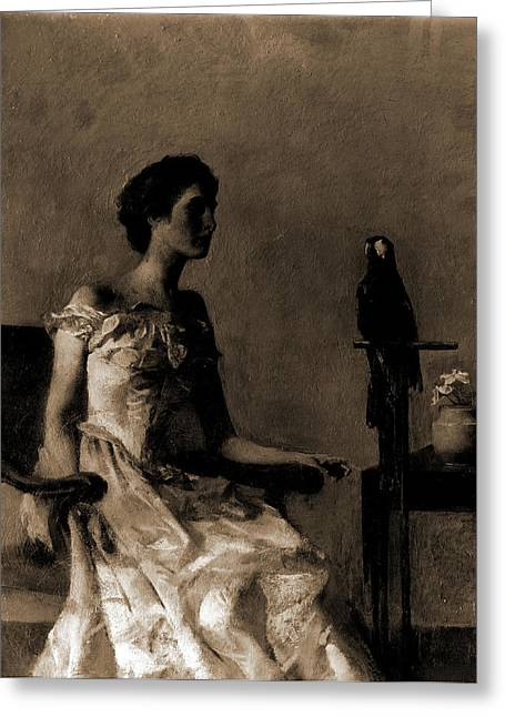 Lady Sitting On Chair Next To Parrot, Dewing Greeting Card