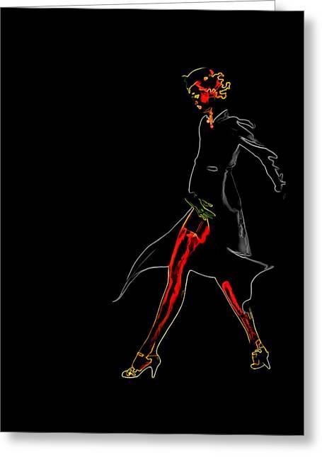 Lady Walking Man Ray Homage Greeting Card by Brian King