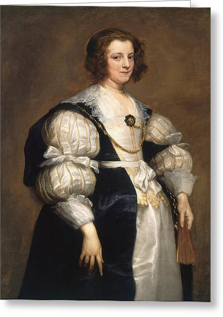 Lady With A Fan Greeting Card by Anthony van Dyck