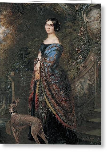 Lady With A Greyhound, C.1839-42 Wc On Paper Greeting Card by Daniel Saint
