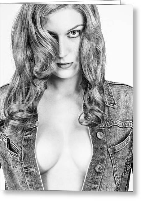 Lady With A Jeans Jacket Greeting Card by Ralf Kaiser