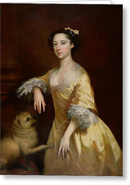 Lady With A Pug Dog Greeting Card by Joseph Highmore