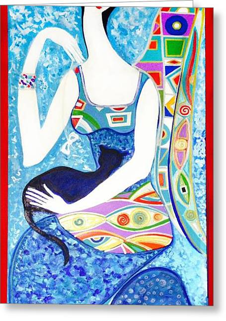 Lady With Cat  Greeting Card by Yelena Wilson