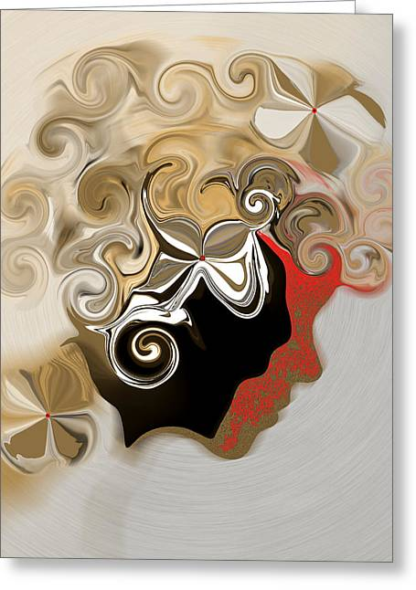 Greeting Card featuring the digital art Lady With Curls by Gillian Owen