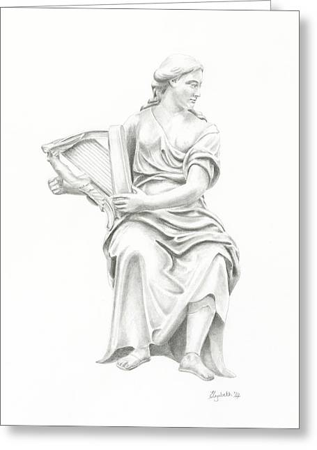 Lady With Harp II Greeting Card