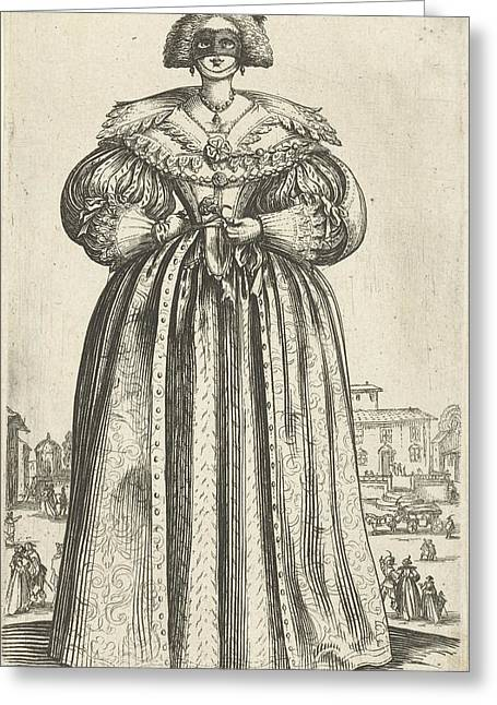 Lady With Mask And Flower, Seen From The Front Greeting Card by Anonymous