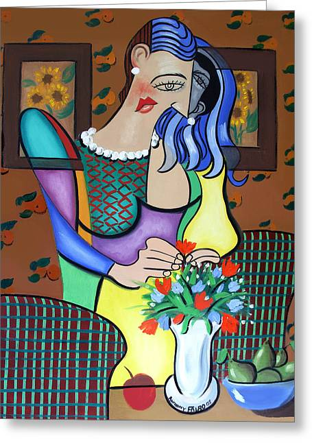 Lady With Pearl Necklace Greeting Card by Anthony Falbo