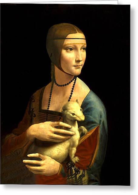 Lady With The Ermine Reproduction Greeting Card by Da Vinci