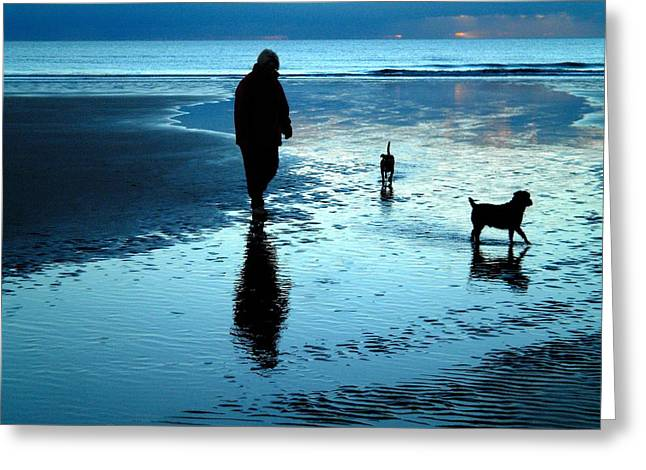 Lady With The Little Dogs Greeting Card by Russ Murry