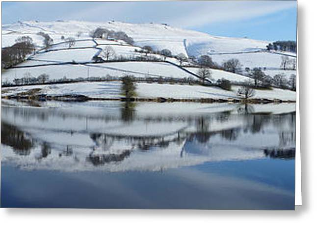 Ladybower Winter Panorama Greeting Card