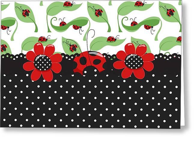 Ladybug Flower Power Greeting Card