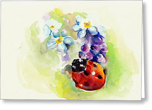 Ladybug In Flowers Greeting Card