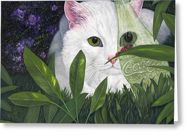 Ladybugs And Cat Greeting Card