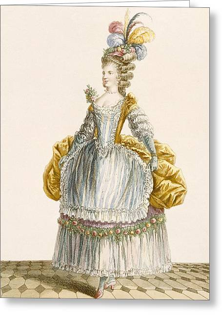 Ladys Ball Gown, Engraved By Dupin Greeting Card by Pierre Thomas Le Clerc