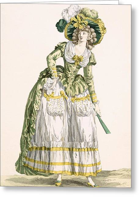 Ladys Country Style Gown, Engraved Greeting Card