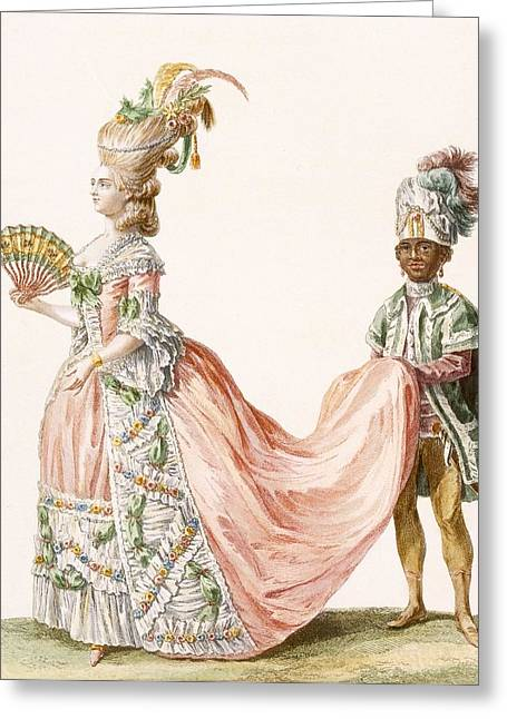 Ladys Elaborate Evening Gown, Engraved Greeting Card