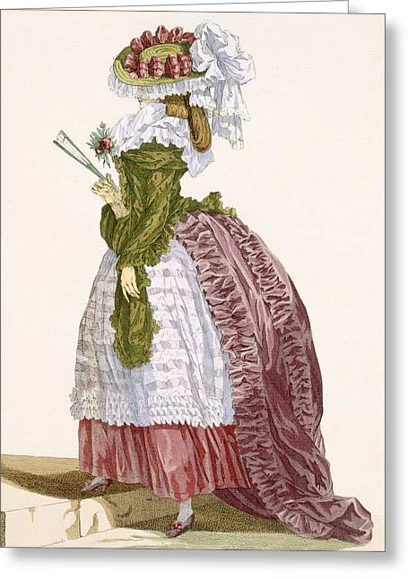 Ladys Elaborate Gown In Burgundy Greeting Card by Francois Louis Joseph Watteau