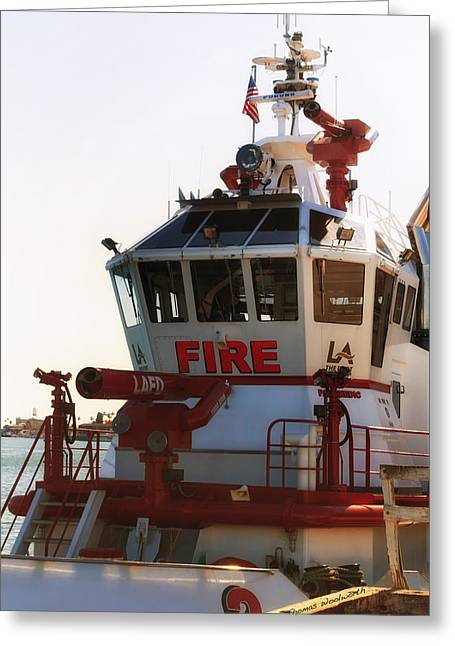 Lafd Fire Boat 2 San Pedro Ca Greeting Card by Thomas Woolworth