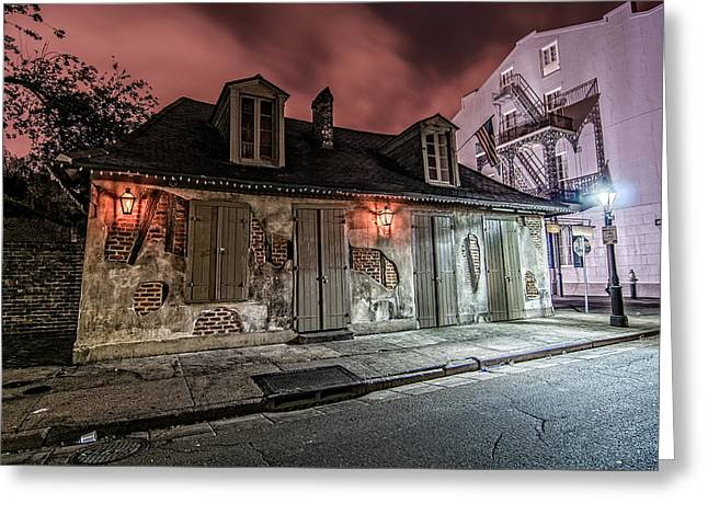 Lafitte's Blacksmith Shop Greeting Card by Andy Crawford