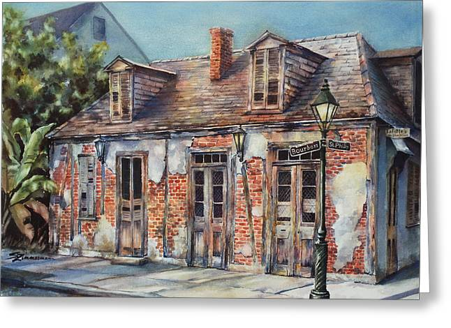 Lafitte's Blacksmith Shop Greeting Card by Sue Zimmermann