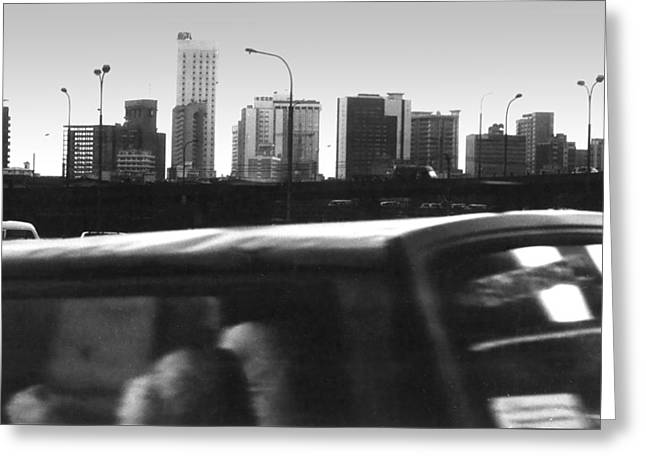 Lagos Skyline At Dusk Greeting Card