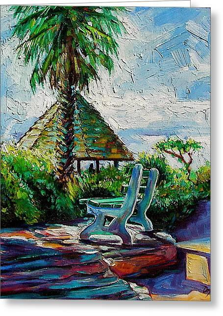 Laguna Beach Bench Greeting Card by Karen Doyle