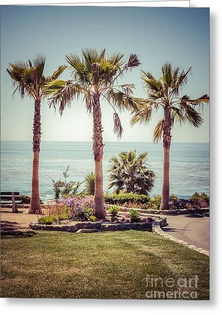 Laguna Beach Heisler Park Retro Picture Greeting Card by Paul Velgos