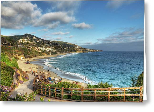 Laguna Beach Shoreline Greeting Card by Eddie Yerkish