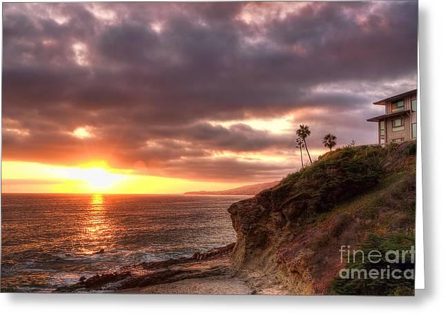 Laguna Beach Sunset Greeting Card by Eddie Yerkish