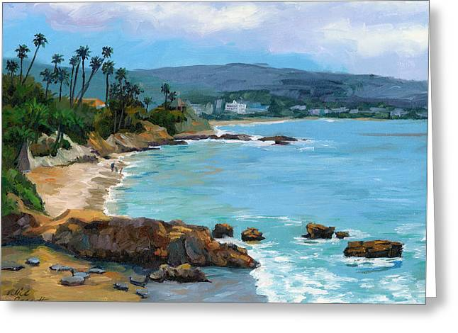Laguna Beach Winter Greeting Card by Alice Leggett