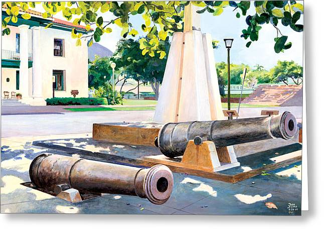 Lahaina 1812 Cannons Greeting Card by Don Jusko