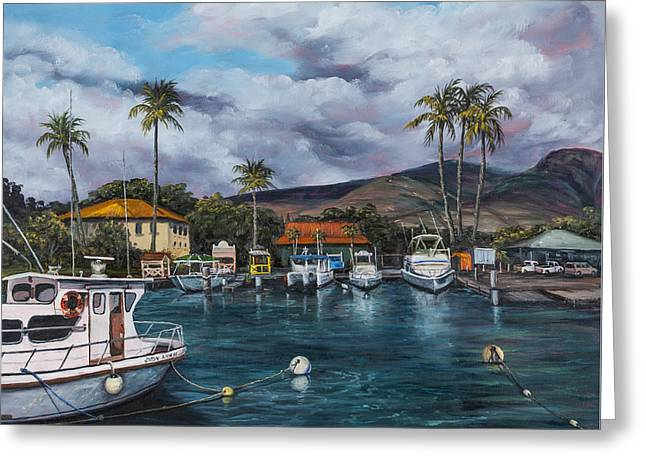 Greeting Card featuring the painting Lahaina Harbor by Darice Machel McGuire
