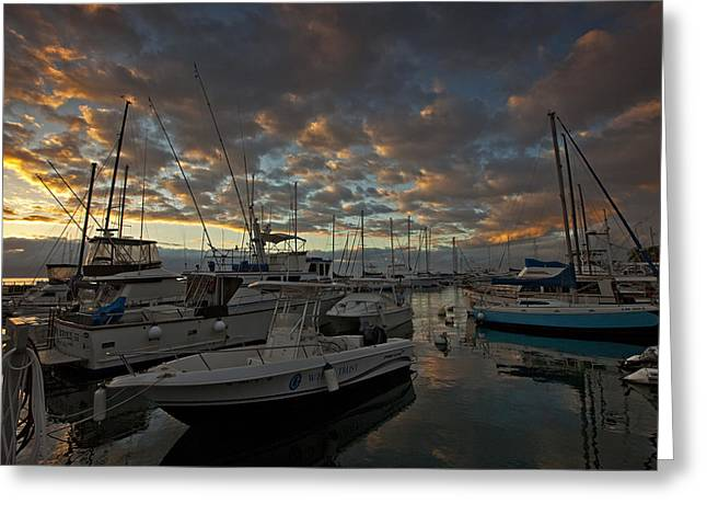 Lahaina's Last Light Greeting Card by James Roemmling
