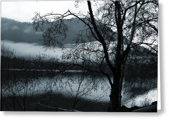 Lake - Clouds Over The Lake Greeting Card by Marie Jamieson