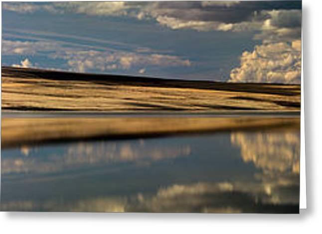 Lake Abert Panoramic Greeting Card by Leland D Howard