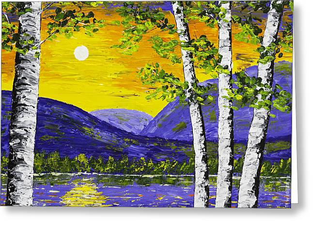 Lake And Mountains At Sunset Palette Knife Painting Greeting Card