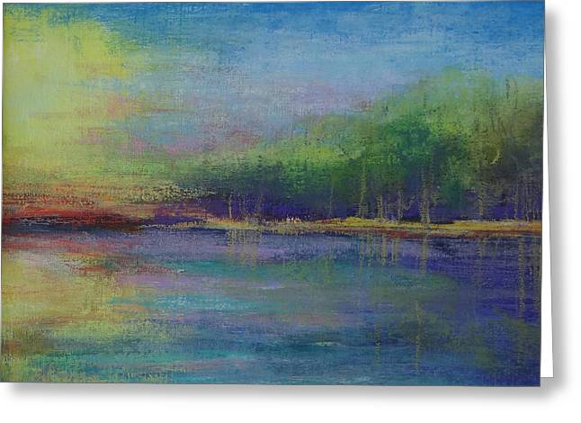 Lake At Sundown Greeting Card by Carol Berning