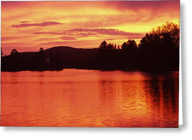 Lake At Sunset, Vermont, Usa Greeting Card by Panoramic Images