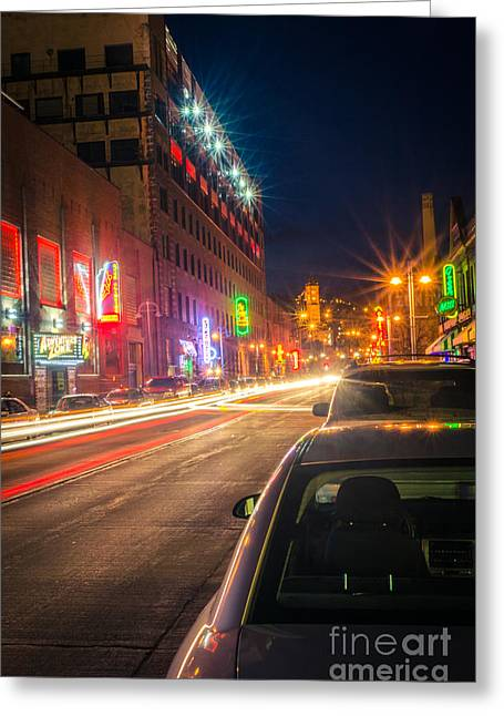 Greeting Card featuring the photograph Lake Avenue Saturday Night by Mark David Zahn Photography