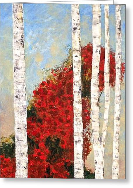 Lake Birches Greeting Card by J A Cahill