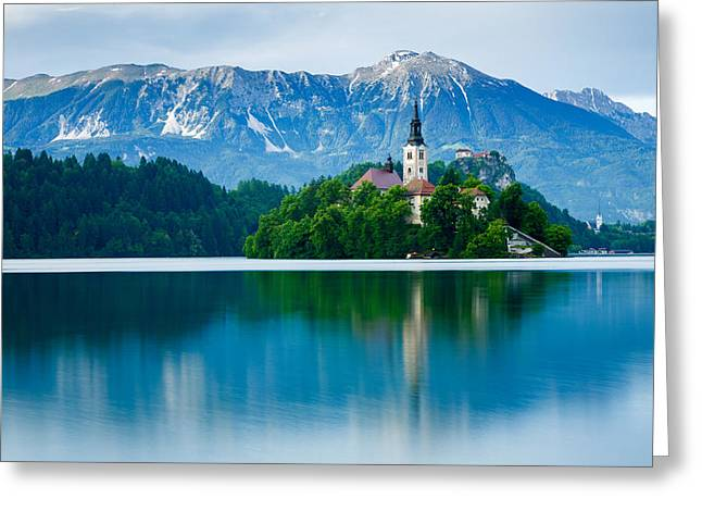 Lake Bled Island Church Greeting Card
