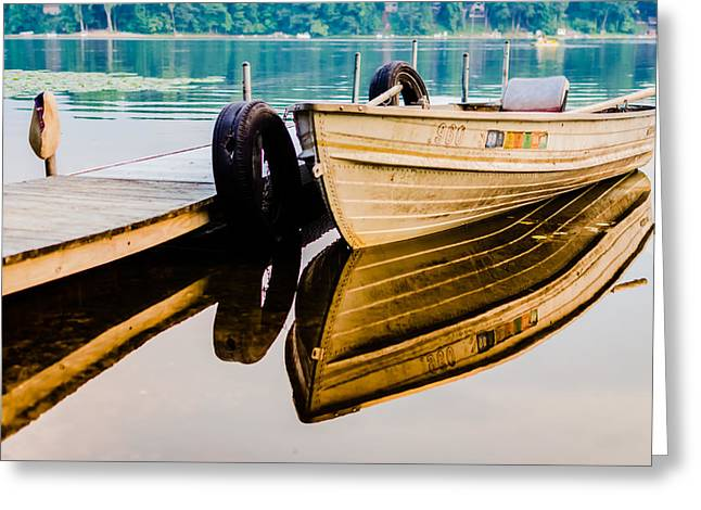 Lake Boat Reflection Greeting Card