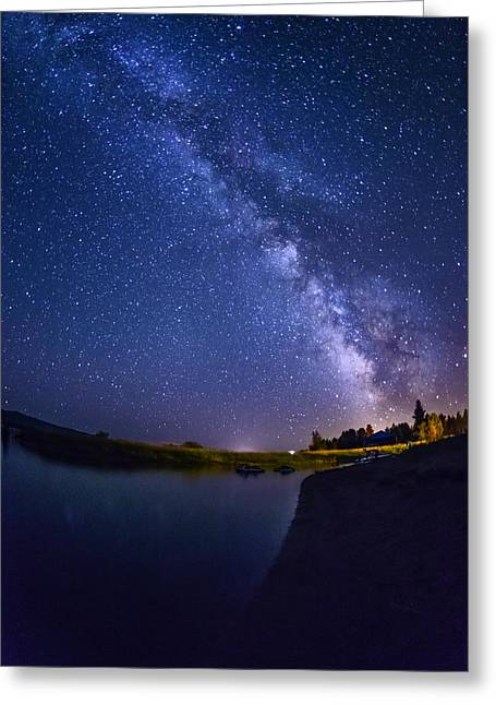 Lake Cascade And Milky Way Greeting Card by Vishwanath Bhat
