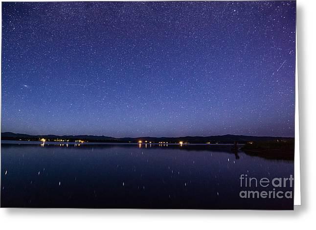 Lake Cascade Idaho By Night Greeting Card by Vishwanath Bhat
