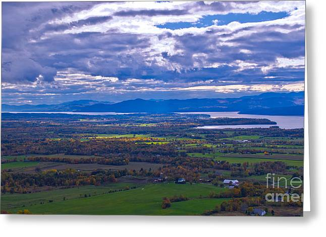 Lake Champlain From The Top Of Mount Philo. Greeting Card