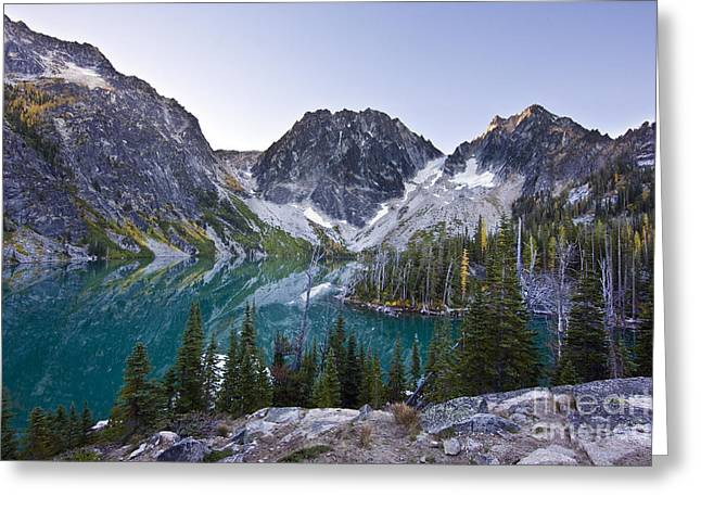 Lake Colchuck Sunrise Greeting Card by Mike Reid