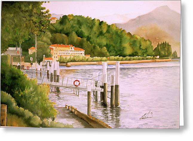 Lake Como Greeting Card by Leah Wiedemer